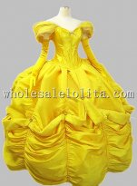 Disney Cosplay Beauty and Beast Yellow Belle Adult Costume Ball Gown