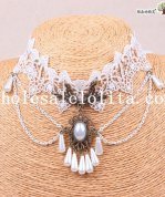 Graceful Royal White Lace Collar Choker Pendant Chain Necklace for Women