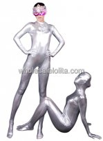 Silver Full body Shiny Metalic Catsuit