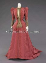 Historical 1900s French Silk & Metal Edwardian Era Dinner Dress