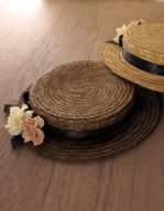 Hepburn Feel Flower Decoration Little Straw Hat