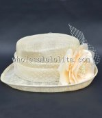 British Style Beige Flower Ladies Small Brim Hat