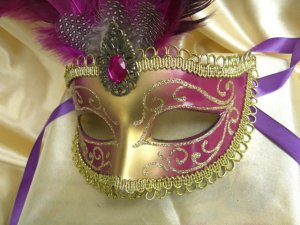Handmade Mardi Gras Masquerade Purple Feather Mask