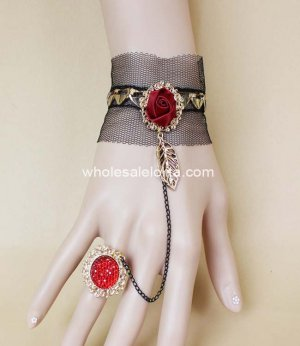 New Retro Black Lace & Red Rose Bracelet & Ring