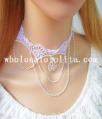 Handmade Gothic White Lace Pearl Crystal Pendant Collar Choker Necklace for Women