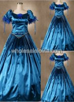 Blue Satin Short Sleeve Southern Belle Ball Gown Prom Dress Wedding Theatre Clothing