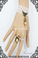 Vintage Pearl Bronze Crown White Bracelet & Ring