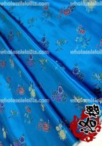 LY Bamboo Flower Brocade Fabric BLUE