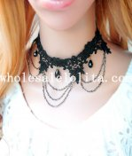 Gothic Handmade Black Lace Collar Choker Necklace with Gem Pendant for Women