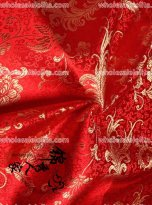 High-End Red Floral Jacquard Silk Fabric