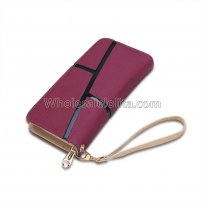 Hot sale fashion women wallets drawstring nubuck Leather zipper wallet women's long design purse
