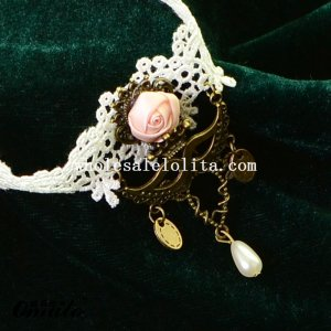 White Fashion Gothic Lace Collar Choker Pendant Necklace with Pearl for Wedding Prom