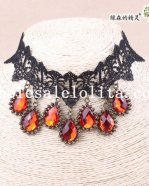 Elegant Royal Black Lace Collar Choker Ruby Pendant Hotsale Necklace