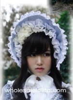 Gray Blue Victorian Era Bonnets Lolita Headdress