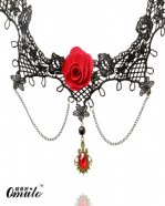 Fashion Gothic Collar Choker Pendant Chain Necklace with Rose and Ruby