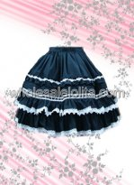 Black Pleated Cotton Lolita Skirt with White Hem