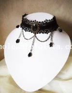Gothic Black Velvet Lace Collar Choker Gem Pendant Necklace for Women's Gift