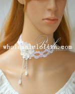 Graceful White Lace Collar Choker Pearl Pendant Necklace for Bride/Bridesmaid