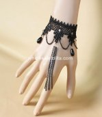 Gothic Black Lace Ladies Drop Shape Tassels Bracelet