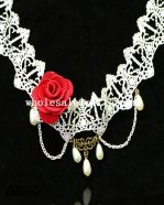 Charming White Lace Pendant Chain Necklace for Wedding Prom
