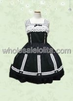 Square Neck Lolita Dress with Lace Applique and Bows