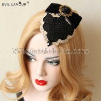 Vintage Gothic Black Rose and Lace Headdress Masquerade Accessories