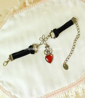 Gothic Vintage Black & Red Heart Shape Exquisite Ladies Bracelet