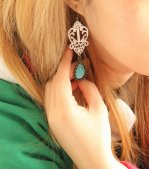 Gothic Green Gem Lolita Earrings Eh-15