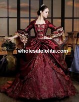 Luxury Burgundy Marie Antoinette Period Dress Queen Renaissance Performance Clothing Wedding Ball Gown