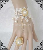 Hot Sale Elegant Pearl White & Gold Bride Gothic Bracelet & Ring
