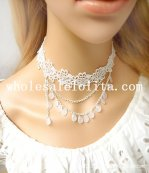 Handmade Gothic White Lace Collar Choker Necklace with Pearl Pendant for Women