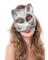 Silver Cat Shaped Carnival Theme Party Mask