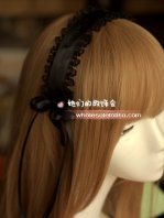 Gothic Black Maid Cosplay Lace Lolita Hair Band