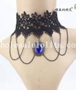 Hotsale Blue Gem Pendant Black Lace Gothic Collar Choker Chain Necklace
