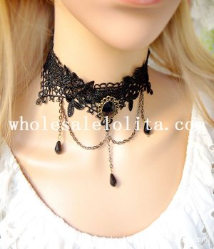 Women's Graceful Black Flower Lace Collar Choker Gem Pendant Chain Necklace