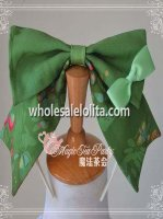Green GARDEN Series Cotton KC Big Bow Lolita Headband
