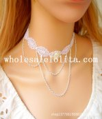Vintage White Lace Pearl Chain Collar Choker Necklace for Wedding Prom