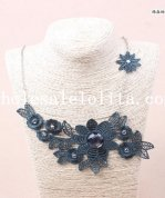 Dark Blue Lace Flower Gothic Necklace