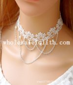 Handmade Women's Gothic White Lace Collar Choker Pearl Pendant Chain Necklace