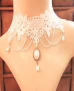 Gothic White Lace Diamond Lolita Necklace MTN91