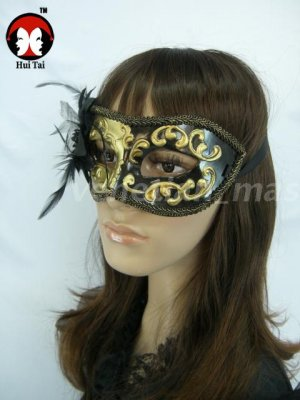 Manual Gold Black Costume Party Mask