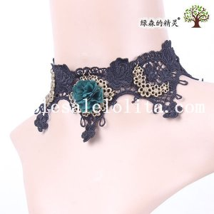 Vintage Black Lace Flower Gothic Collar Choker Necklace with Green Flower for Women