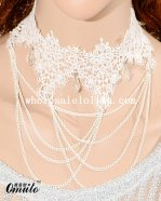 Fashion White Lace Pendant Necklace for Bridesmaid Accessory