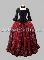Two Piece Gothic Black and Wine Red Victorian Dress Mardi Gras Venice Carnival Costumes