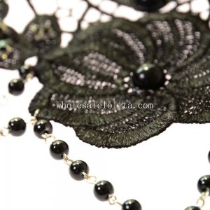 Gothic Lace Necklace with Black Pearl