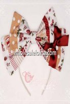 Sweet Strawberry Jam Series Cotton KC Big Bow Lolita Headband