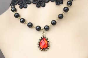 Gothic Royal Red Gem Lace Lolita Necklace MTN49
