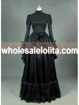 Black Satin Long Sleeves Gothic Victorian Dress