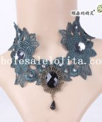 Gothic Dark Blue Lace Flower Pendant Necklace