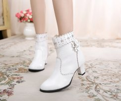 Sweet Lolita Bow Small round head high thick with gardenia female short boots